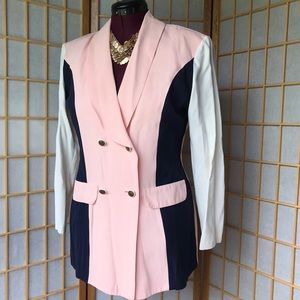 💕VINTAGE💕WOMEN'S CAREER WEAR BLAZER PINK & BLUE